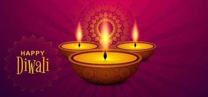 Cartolina d'auguri di festival di Diwali con il fondo di diya di Diwali