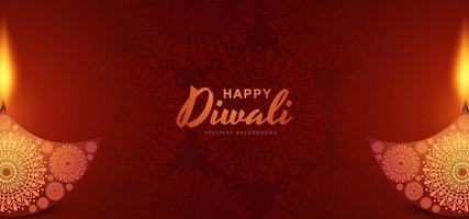 Hindu diwali festival greeting card background vector