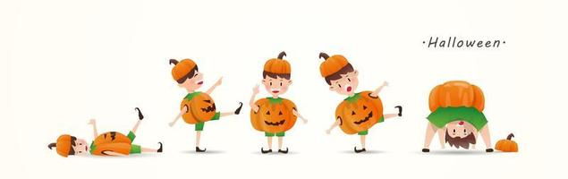 Kids in Halloween pumpkin costumes
