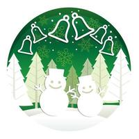 Christmas round illustration with forest and snowmen