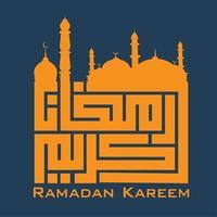 Mosque Typography ramadan kareem vector