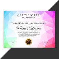 Beautiful certificate template polygon design
