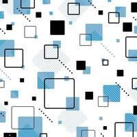 Blue color square memphis geometric pattern