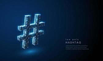 Abstraktes Hash-Tag-Symbol. Low-Poly-Style-Design.