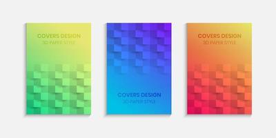 Colorful halftone gradients with 3d paper style