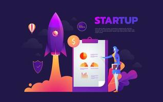 Startup launching process isometric Banner