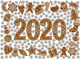Gingerbread christmas symbols. New year icon 2020