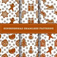 Set of six cartoon gingerbread seamless patterns
