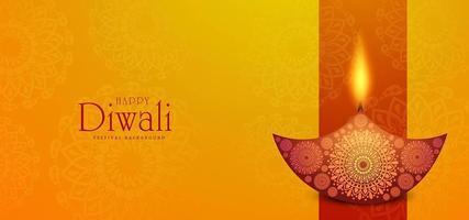 Vacker lycklig bakgrund med Diwali diya-kortberöm