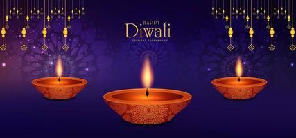 illustration av brinnande diya på Happy Diwali Holiday bakgrund
