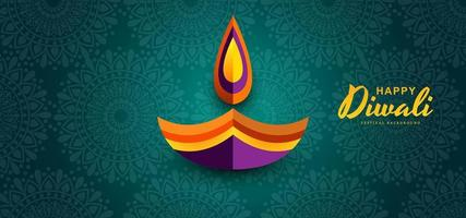 "Felice ""Diwali. Grafica di carta di Indian Diya Oil Lamp Design"