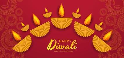 Fondo decorativo DIwali diya con rangoli