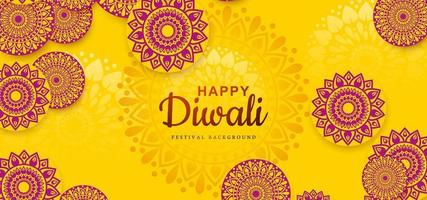Diwali festival holiday design with Indian Rangoli background vector