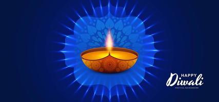 Feliz festival de luz diwali con diseño diya