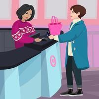 Customer Paying at register  vector