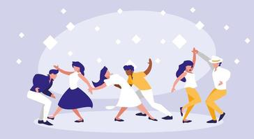 Grupo de bailarines de discoteca avatar personaje