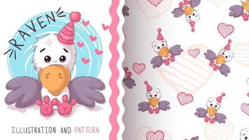 Cute teddy raven - seamless pattern vector