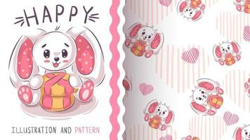 Funny teddy rabbit - seamless pattern vector