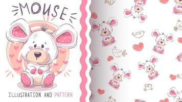 Cute pretty mouse - seamless pattern vector