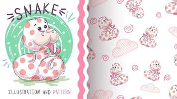 Cute teddy snake - seamless pattern vector