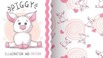 Cute teddy pig - seamless pattern vector