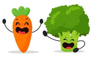 Cartoon vegetables, carrots and broccoli that are enjoying