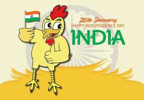 Chicken holding Indian Independence day flag vector