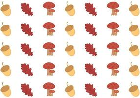 Seamless autumn pattern with mushrooms, old leaves, and seeds