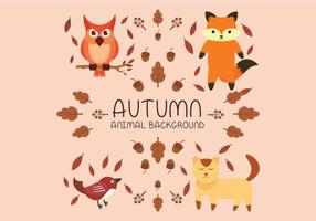 Autumn animal set with fox, cat, bird and owl