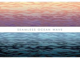 Set of seamless wave patterns at sunset and night.