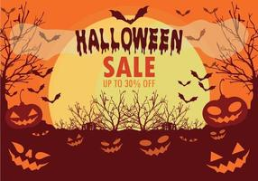 Halloween sale background with bats and pumpkins