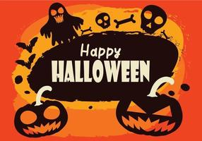 Happy halloween background with ghost, bats and pumpkins vector