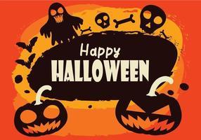 Felice sfondo di halloween con fantasma, pipistrelli e zucche