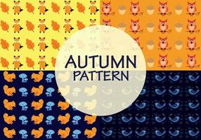 Autumn patterns with a combination of animals, old leaves, acorn and mushrooms vector
