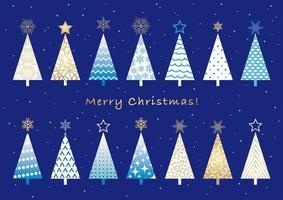 Ensemble d'arbres de Noël isolé sur un fond Uni.