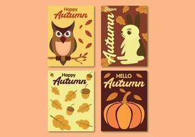 Autumn card collection with animals, nuts and old leaves