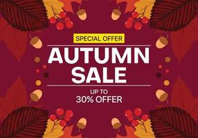 Autumn sale background with leaves, nuts and fruit