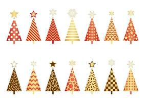 Set of Christmas trees isolated on a white background.