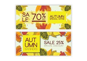 Autumn sales banner collection with leaves