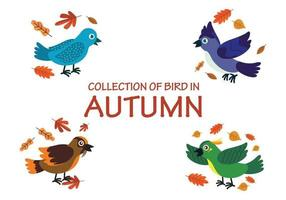 Collection of birds playing with leaves in autumn