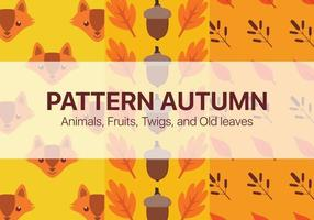 Autumn patterns with animals, nuts, twigs and old leaves vector