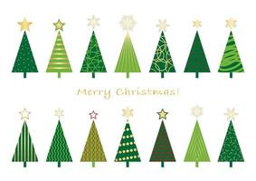 Set of Christmas trees isolated