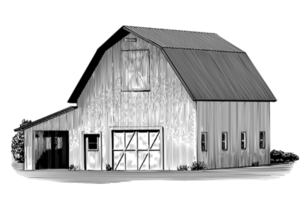 Engraved Cow Barn vector