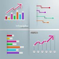 Graph infographic set with bars and arrows