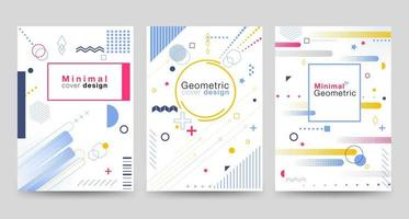 Minimalist cover design set with geometric shapes