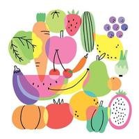 Cartoon cute flat colorful fruits and vegetables