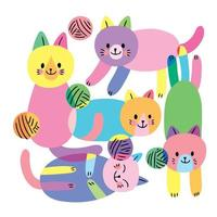 Cartoon cute flat colorful cats and yarns