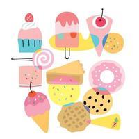 Niedliche flache bunte süße Bäckerei der Karikatur