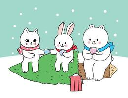 Cartoon cute Christmas cat and rabbit and polar bear