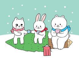 Gato de Natal bonito dos desenhos animados e coelho e urso polar